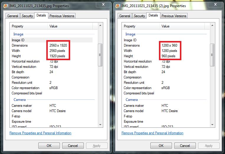 Image Size Compression Comparison
