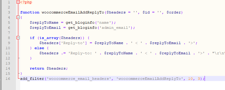woocommerce reply to email header